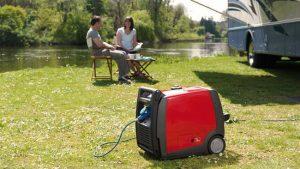 groupe électrogène rouge bord lac