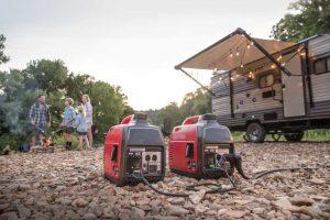 deux groupes électrogènes camping-car connectés
