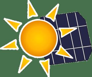 soleil avec un panneau solaire