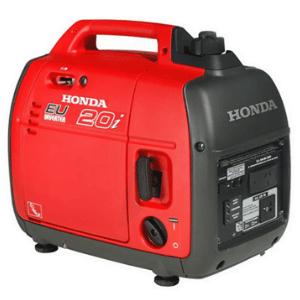 groupe électrogène honda EU20i2000 watts rouge et noir avec une poignée