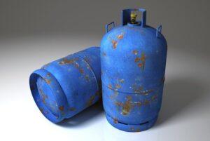groupe electrogene gaz avec bouteille à gaz de couleur bleu